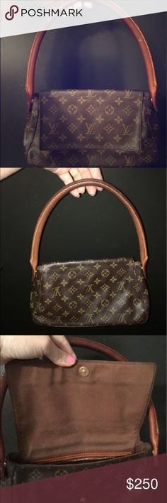 """Authentic """"vintage""""  Louis vuitton Real! Vintage as you can see by the style. People usually stop me asking where I got it bc they have never seen this style. Beautiful on the outside but has stains inside. Will to give away for designer dresses and accepting offers Louis Vuitton Bags Mini Bags"""