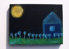 peaceful night folk art painting on cradled by Pegskitchenstudio, $45.00