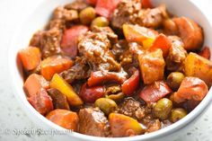 Beef Kaldereta is a type Filipino beef stew. It makes use of tomato sauce and liver spread (or liver pate). Vegetables are also added.