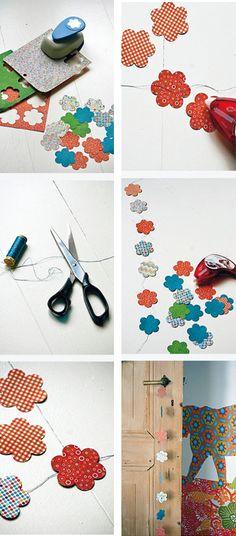 DIY make a paper garland #garland #paper #flowers - Papieren slinger #slinger #bloemen Kijk op www.101woonideeen.nl