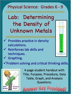 Always FREE!!   Lab: Determining the Density of Unknown Metals