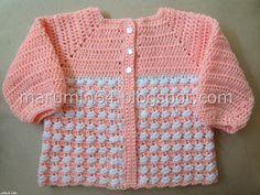 Marumin Crochet: Chaquetita a crochet con canesú cuadrado y faldón a dos colores CC008 / Square yoke crochet baby jacket CC 008