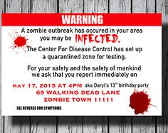 Set of 12+ Zombie Party Invitation, Walking Dead Invitation