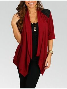 gamesinfomation.com Plus Size Bright Red Short Sleeve Cardigan coupon| gamesinfomation.com