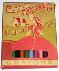 Vintage Bo Peep Crayons Colored Pencils