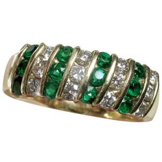 Stunning 18k TIFFANY Emerald Diamond Band Ring-- FREE SHIPPING Canada  USA