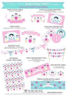 BABUSHKA Party Printable Collection – Pretty Pastel {DIY Girl's Party} | Marabous