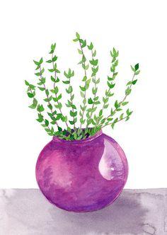 Thyme Original Watercolor Botanical Painting Kitchen Wall Artwork