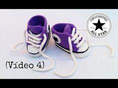 Converse chaussures bébé crochet 2/2 / Converse all stars baby shoes crochet (english subtitles) - YouTube