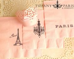 Paris Pink Party Napkins Eiffel Tower-Chandelier-Paris theme-Birthdays=Bridal shower-special occassion
