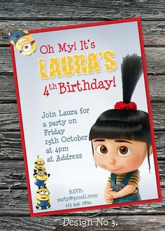 Despicable me Agnes birthday party invitation