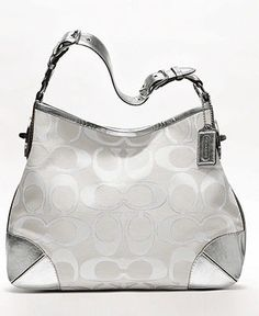 Coach Peyton Signature Sa Metallic Shoulder Bag White And Silver 19758 Fabric With Leather Trim Inside Zip Cell Phone