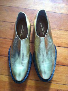 Vintage 90s Comme des Garcons Leather Metallic Gold Shoes Womens Metallic Booties. $395.00, via Etsy.