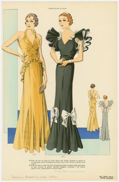 [Women in formal evening gowns, front and back views.] looks like it came off a movie set 1930s Fashion, Art Deco Fashion, Retro Fashion, Vintage Fashion, Fashion Design, Parisian Fashion, French Fashion, Victorian Fashion, Korean Fashion