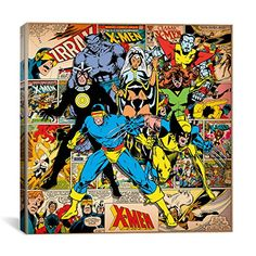 iCanvasART MRV295 Marvel Comic Book XMen on XMen Covers and Panels Square by Marvel Comics Canvas Print 12 by 12Inch 075Inch Deep * You can find more details by visiting the image link.