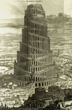 Athanasius Kircher (Saint Andrews copy of a large fold-out plate print, engraving, detail); Turris Babel [Tower of Babel], Amsterdam, c. 167...