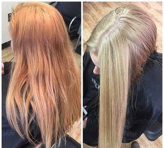 Golden blonde to natural sandy honey blonde color correction