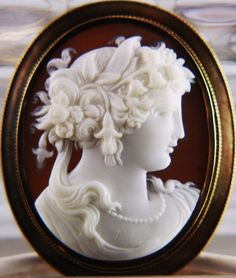 14k Gold Cameo of Persephone from vivienstreasurewonderland on Ruby Lane