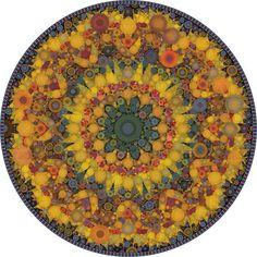 Summer Solstice, Mandala Art Matted Print, Botanical Mandala