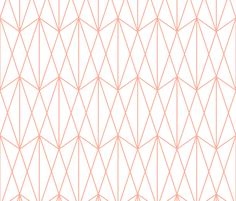 Diamond Grid - Coral white fabric by kimsa on Spoonflower - custom fabric