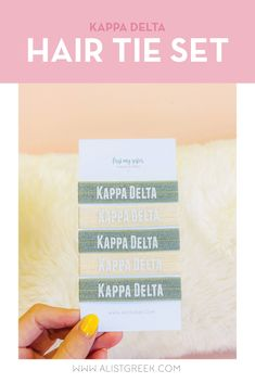 Sorority hair ties are the easiest gift for any celebration: Recruitment, Bid Day, Back to School & Big/Little. Spoil your new sorority girl with a hair tie set! Kappa Delta Gifts | Kappa Delta Bid Day | KD Hair Ties | Kappa Delta New Pledge Gift | Sorority Bid Day | Sorority Recruitment | Sorority Hair Tie Gifts | Sorority College Gift | Sorority New Member Gift Ideas #SororityGifts #SororityHairTies Sorority Bid Day, College Sorority, Sorority Recruitment, Sorority Gifts, Normal School, Back To School, Bid Day Themes, Hair Tie Bracelet, Greek Design