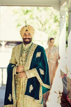 Picture from Remina & Bhavjit Photo Gallery on WedMeGood. Browse more such photos & get inspiration for your wedding Sikh Wedding Dress, Wedding Dresses Men Indian, Wedding Outfits For Groom, Wedding Suits, Wedding Groom, Sherwani Groom, Mens Sherwani, Wedding Sherwani, Indian Groom Wear
