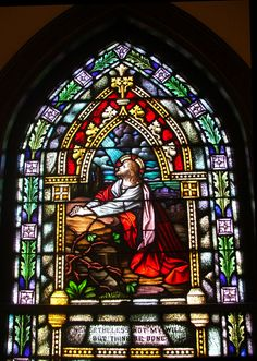 """Garden of Gethsemene where Jesus crucifixion was about to take place. He prayed to God:"""" Not My will, but Yours be done.""""   Church Windows"""