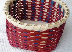 Plain and Fancy red white and blue handwoven basket