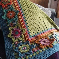 Ravelry: Project Gallery for Mystical Lanterns Shawl pattern by Jane CrowfootCrochet 'Spitspot Summer Love Blanket' Crochet along (CAL)This DIY blanket scarf project is so easy that any non-crafter can make it. Customize your own blanket scarf this w Crochet Squares, Crochet Granny, Crochet Blanket Patterns, Baby Blanket Crochet, Crochet Motif, Crochet Stitches, Crochet Baby, Knitting Patterns, Granny Squares