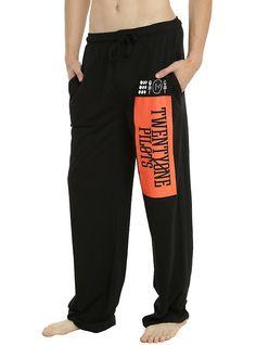 Twenty One Pilots Logo Guys Pajama Pants, BLACK