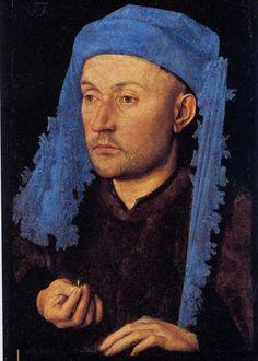 JAN VAN EYCK Portrait de l' homme au chapeau bleu, cira 1429 Muzeul National De Artâ al României - Bucarest