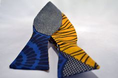 Blue Yellow and White African Print Bow Tie