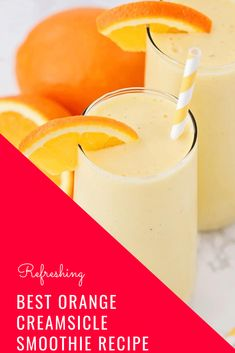 This sweet and refreshing orange creamsicle smoothie is perfect for an easy breakfast or afternoon snack! Filled with fruit and yogurt, it's a healthy and flavorful way to enjoy your favorite frozen creamsicle drink! Orange Creamsicle Smoothie Recipe, Berry Smoothie Recipe, Orange Smoothie, Smoothie Recipes, Juice Recipes, Smoothie Drinks, Orange Juice, Breakfast Smoothies, Healthy Smoothies