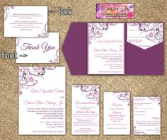 "Blooming Vines ""Finola"" 5x7 Wedding Pocketfold Microsoft Word Template   Wisteria Purple Plum   Invitation, RSVP, 2 Inserts, Thank You Card by PaintTheDayDesigns, $37.50"