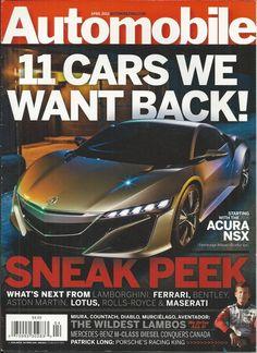 Automobile magazine Nissan Acura NSX Lamborghini Ferrari Bentley Aston Martin