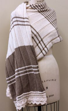 Free Knitting Pattern for East Brewster Shawl - Rectangular wrap with a plaid inspired design made of colorwork horizontal stripes and textured vertical stripes. Lace border. Designed by Brenda York for Berroco