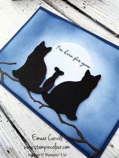 Here for You Stampin' Up Cat Punch card - Stampin Up, Punch Art Cards, Dog Cards, Stamping Up Cards, Cat Crafts, Animal Cards, Baby Kind, Fall Cards, Handmade Birthday Cards
