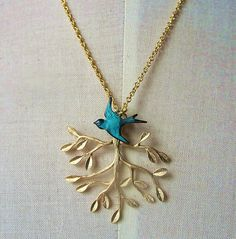 Golden teal patina teal blue bird with branch tree by youmademyday,