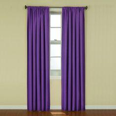 eclipse Kendall Thermaback Blackout Window Panel (Purple) ($30) ❤ liked on Polyvore featuring home, home decor, window treatments, curtains, purple, outside curtains, outdoor curtain panels, blackout window panels, blackout curtains and blackout panels