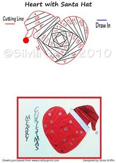 Heart with Santa Hat on Craftsuprint designed by Silvia Griffin - Just right for the love of your live. Easy cutting makes for a quick card. May want to put a picture of yourself in the iris :>. Thanks for looking and considering to buy this pattern. - Now available for download!