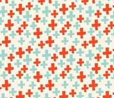 Swiss Cross - Cream/Cambridge Blue/Vermillion fabric #andrealauren #pattern #surfacedesign