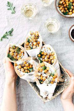 ~ Roasted Chicken Pita Wraps with Crispy Chickpeas and Tzatziki ~