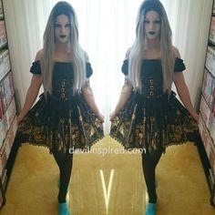 The open shoulder coset lolita dress is sooo hot!!  Love your whole style babe @littlemisshorror__ ❤️❤️ ➡️Dress Code: NL-082 ➡️www.devilinspired.com #lolitafashion #lolita #devilinspiredofficial #op #pretty #gothic #gothicfashion