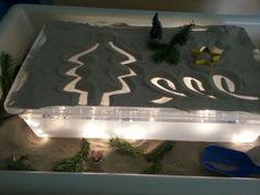 Thema kerst: Lichtbak in de zandtafel.