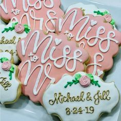 Farm Cookies, Cocoa Cookies, Drop Cookies, Wedding Shower Cookies, Bridal Shower Tea, Bachelorette Party Planning, Bachelorette Weekend, Succulent Cupcakes, Rustic Wedding Showers