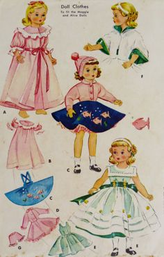 Vintage Doll Clothes Pattern 15 1950s McCall's