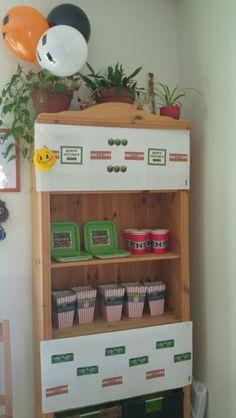 Minecraft Party, Bookcase, Shelves, Home Decor, Shelving, Homemade Home Decor, Shelf, Open Shelving, Decoration Home