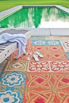 Namada Rug - Outdoor Indoor Use - Coral Blue                     For the patio.
