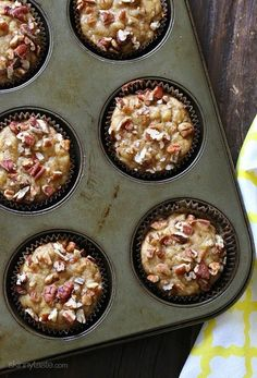 Moist and delicious banana muffins sweetened with pure maple syrup and topped with crushed pecans – so good you won't believe they are light! This week has been