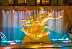 Prometheus was the Greek god who brought fire to mankind, and is honored for his gift with a gilded bronze fountain in the plaza of Rockefeller Center in New York City. The art deco fountain, by sculptor Paul Manship, was installed in 1933 and is one of the most recognized landmarks in New York.
